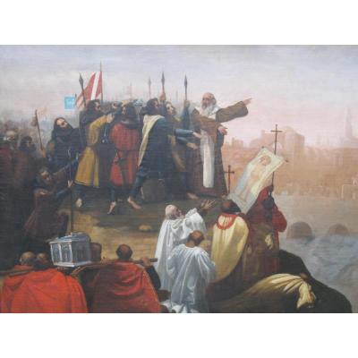 Tableau Prédication Croisade Pierre L'hermite Harangue Les Croisés Devant Jérusalem