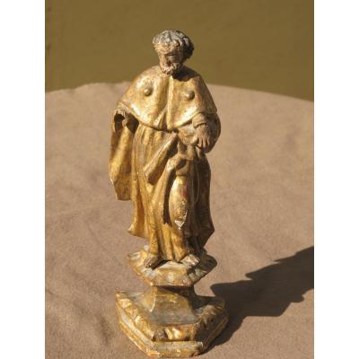 Statue De Saint En Bois Doré Coquille Saint Jacques Livre XVIII ème Siècle