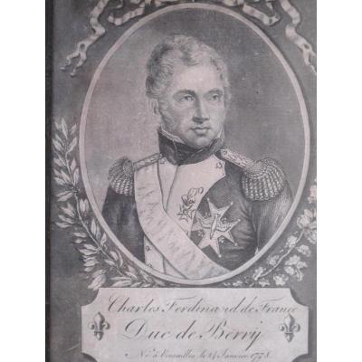 Charles Ferdinand De France Duc De Berry Versailles 24 Janvier 1778 Cadre Gravure