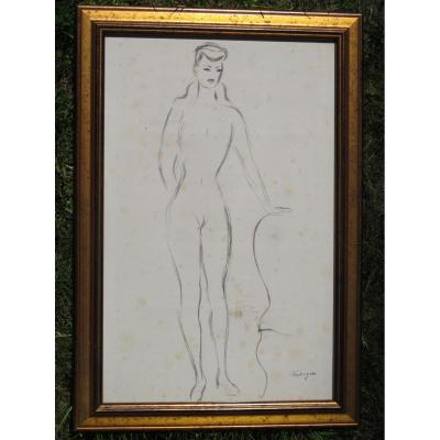 Drawing Woman Naked Louis Touchagues Signed Bottom Right