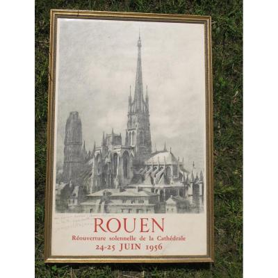 Poster Rouen Reopening Cathedral 24 June 1956 Michel Frechon