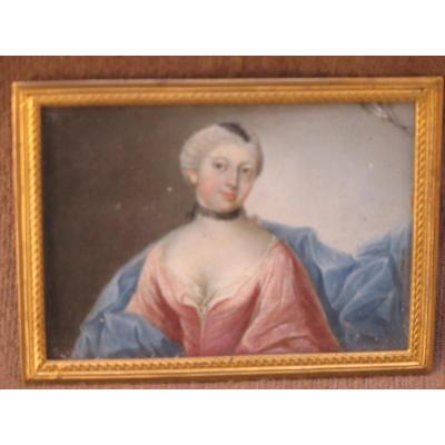 Miniature Sur Métal Représentant Une Femme d'époque Louis XV
