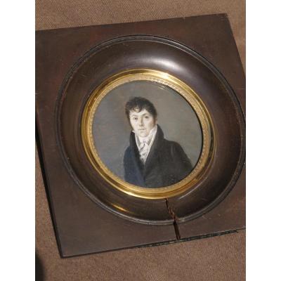 Miniature Portrait d'Homme Empire XIX ème Siècle