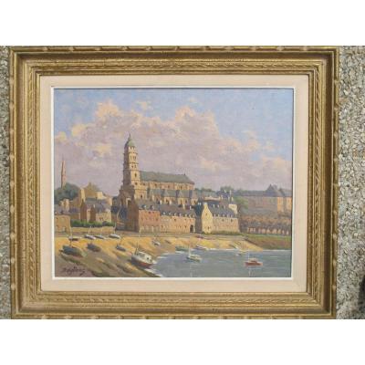 Tableau Vue d'Un Port Breton Et église Bretagne Bateaux A Quai Raylinat Raymond Goulinat Huile