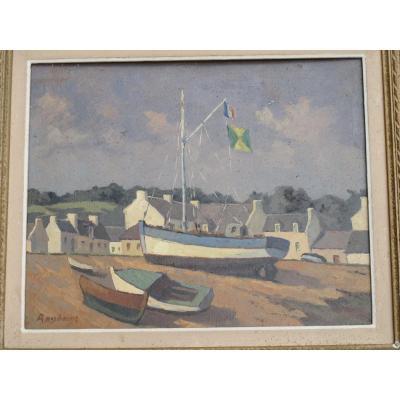 Tableau Huile Sur Panneau Vue d'Un Port Breton Bretagne Signé Raylinat (raymond Goulinat)