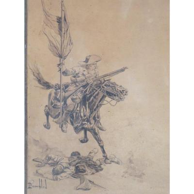 Dessin Signé Louis Bombled  Guerre Des Boers Cavalier Brandissant Son Drapeau Soldat Anglais