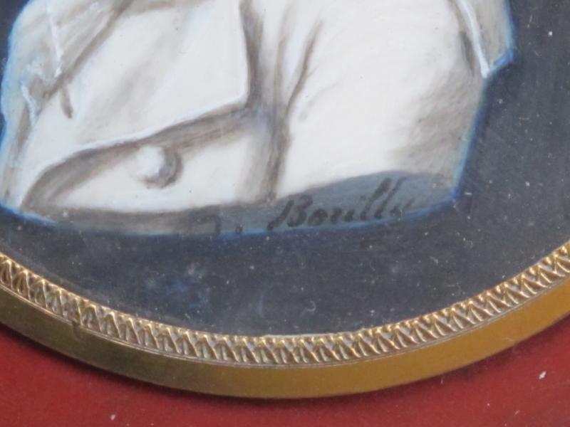 Boite Miniature Signée Borilly    Homme Les Cheveux Relevés Par Un Peigne (condamné Révolution)-photo-3