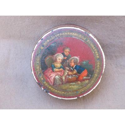 Vernis Box Martin Children Playing With A Cat Louis XVI Period Bergamot Interior