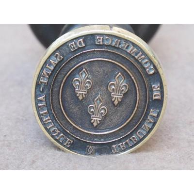 Sceau Cachet En Bronze Armes De France  Tribunal Commerce Saint Affrique Aveyron
