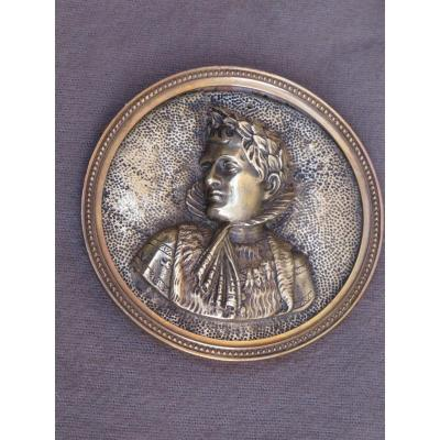 Médaillon Buste Napoléon Lauré Cadre Circulaire En Laiton