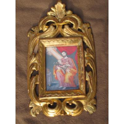 Gouache Saint Joseph Datée à l'Arrière 1770 époque XVIII ème Siècle Cadre Bois Doré
