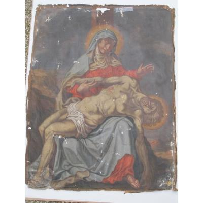Oil On Canvas Double Face Pieta And The Other Face Saint Gérard And Saint Georges