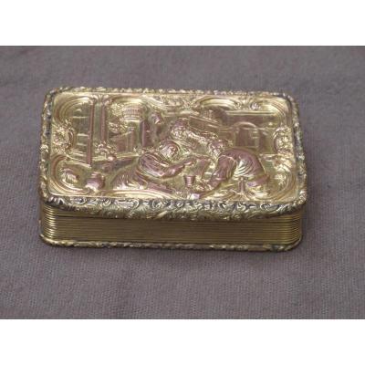 Boite Tabatière En Pomponne Scène d'Intérieur époque Louis XVI 18 ème Siècle