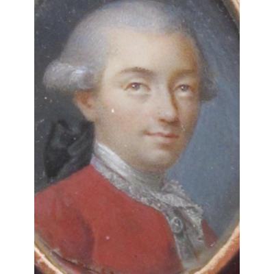 Miniature Famille Amédée De Savoie Homme à La Veste Rouge Louis XVI 18 ème Siècle