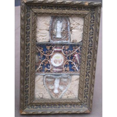Reliquary Frame Paperolle Félix Benoit Donatien Virgin Rolled Papers XIXth Century