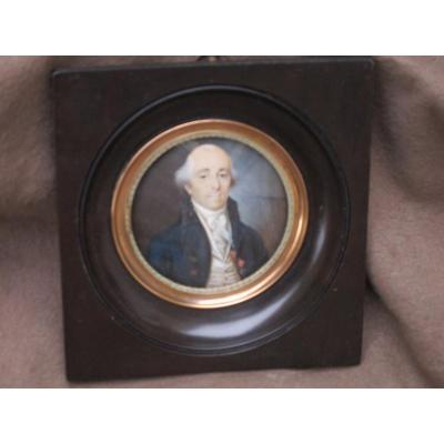 Miniature Portrait Homme Médaille Décoration De Saint Louis Boutons Fleurs De Lys  Louis XVI