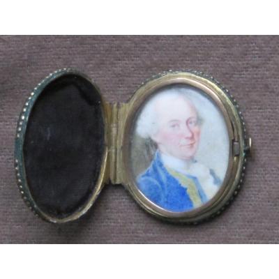 Miniature Sur émail Portrait Homme Dans Un Magnifique écrin De Galuchat Vert Et Or
