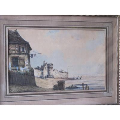 Old Houses And Boats By The Sea, Watercolor Gouache Attributed Eugène Isabey