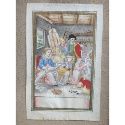 Gouache Sainte Famille Dans l'Atelier De Joseph