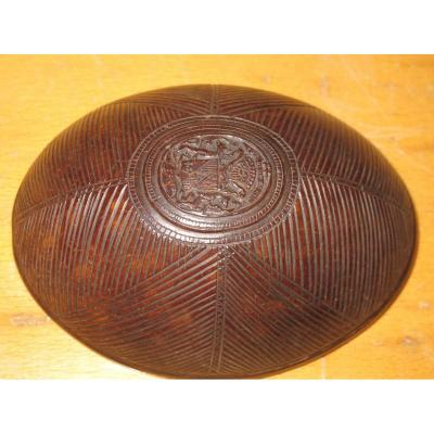 Carved Coconut Coat Of Arms