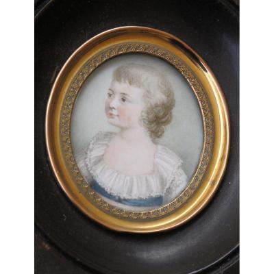 Belle Miniature  d'Un Enfant Au Cordon Bleu Début XIX Siècle