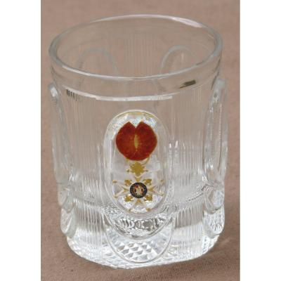 Straight Cut Crystal Tumbler With Cristallo Cerame Decor Medal Of Saint Louis Around 1815