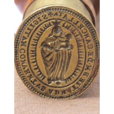 Sceau Cachet En Bronze De l'Abbaye Notre Dame De Chancelade XVIII E Siècle Beau Manche Tourné
