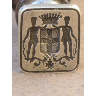 cachet sceau armoiries matrice argent  saint louis manche palissandre tourné