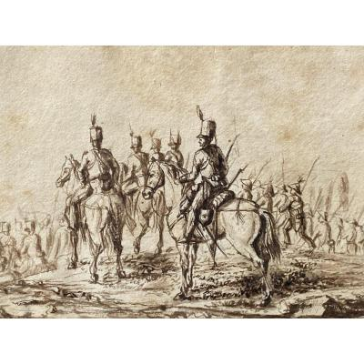 Ink Drawing Empire Battle Scene Under Napoleon Cavalier Uniform