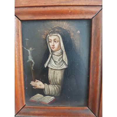 Table Of Saint Catherine Of Siena Oil On Copper XVII E Century