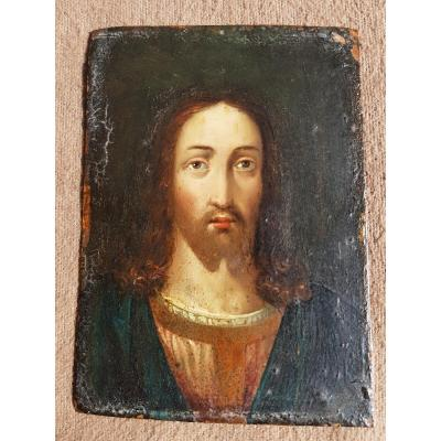 Christ In Bust Small Painting Oil On Copper XVIIth Century