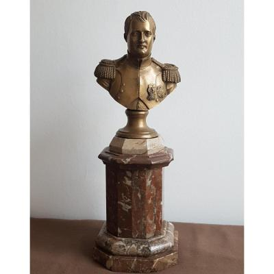 Bronze Bust Of Napoleon Finely Chiseled Marble Base Beautiful Details Sculpture Statue
