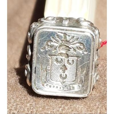 Seal Stamp Silver Coat Of Arms Party Fleur De Lys Crescent Azure Sand Currency VI And Virtute