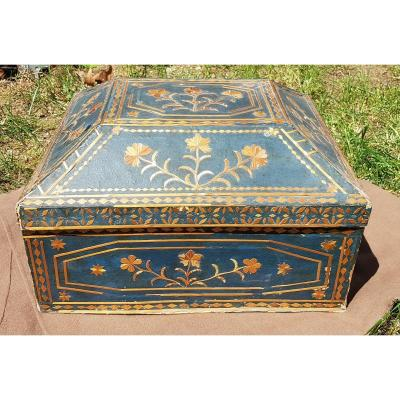 Beautiful And Rare Straw Decor Box With Blue Background