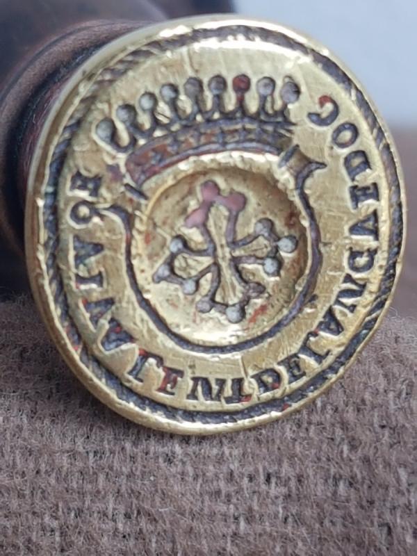 Sceau Cachet En Bronze Armoiries Du Languedoc Manche En Bois Tourné -photo-2