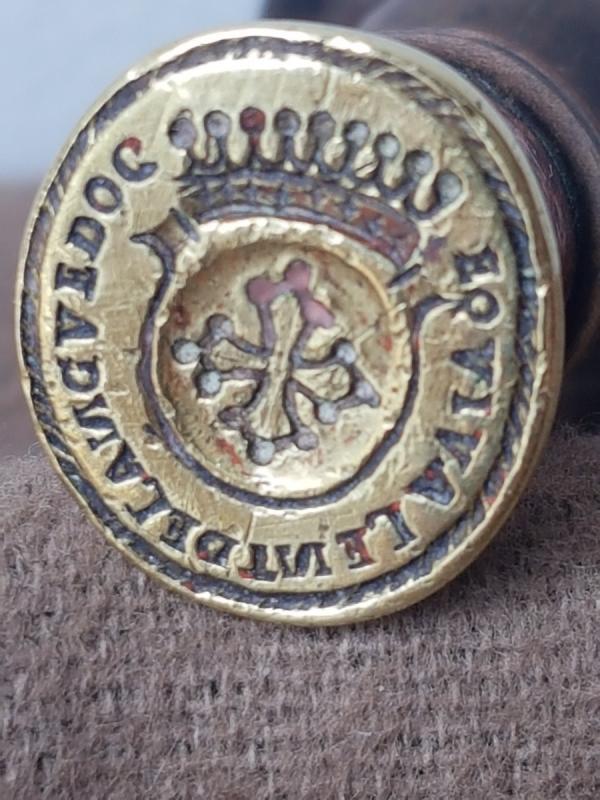 Sceau Cachet En Bronze Armoiries Du Languedoc Manche En Bois Tourné -photo-4