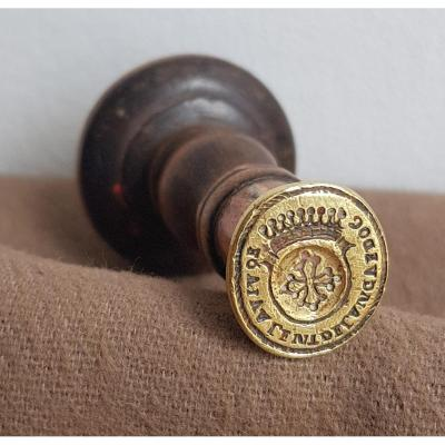Seal Stamp In Bronze Coat Of Arms Of Languedoc Turned Wood Handle