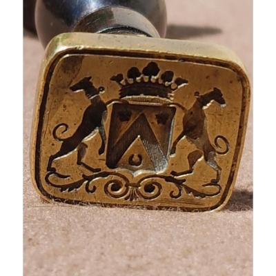 Sceau Cachet En Bronze Armoiries  Croissant Chevron Quintefeuilles Couronne Blason écu