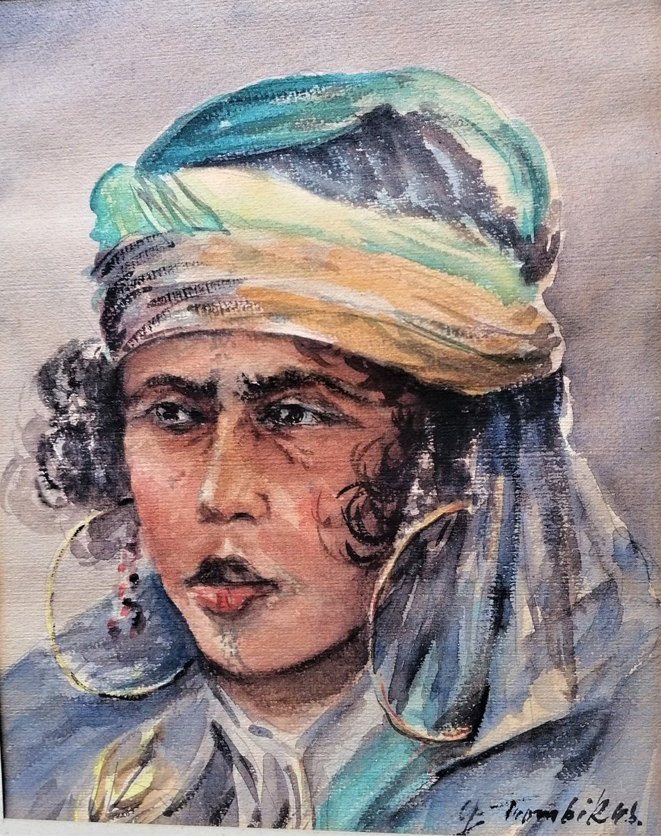 Watercolor-orientalism-young Woman-g. Trombik-north Africa-tunisia-