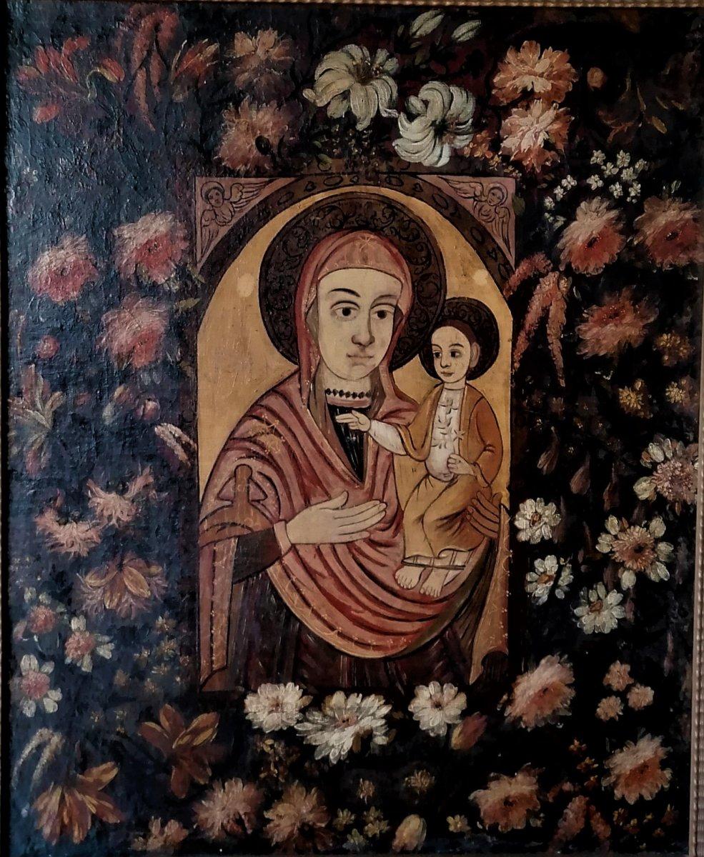 Vierge A L Enfant D Epoque XVII Eme Siecle-ecole Etrangere-espagne-italie-grece-93 x 76 cm-