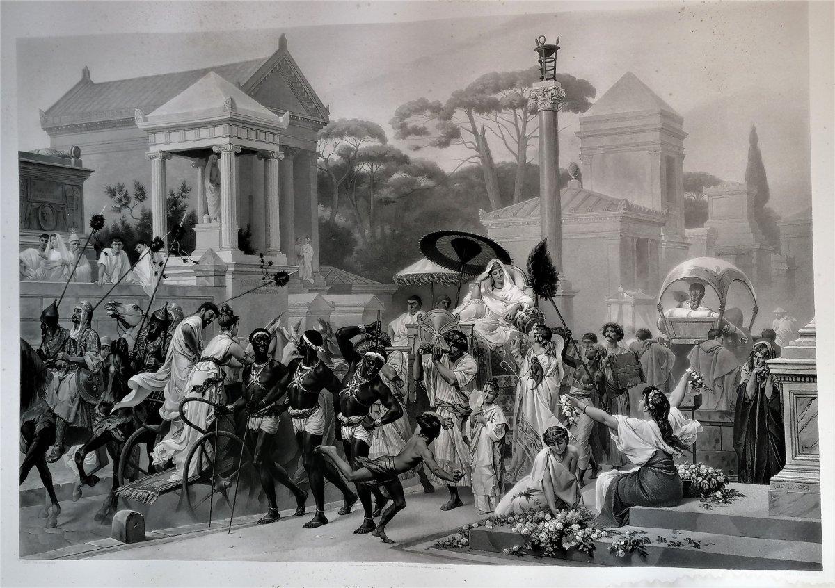 Gravure Monumentale-la Via Appia-rome Antique-g. Boulanger-gautier Graveur-