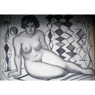 Dessin Original-tomas Divi-ecole Espagnole-nu Feminin-circa 1940-