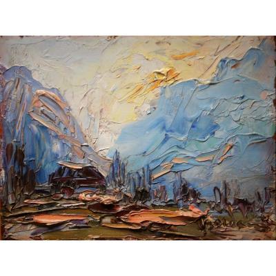 Italo Giordani- (1882-1956)-paysage Provencal-huile Sur Panneau-impressionniste-