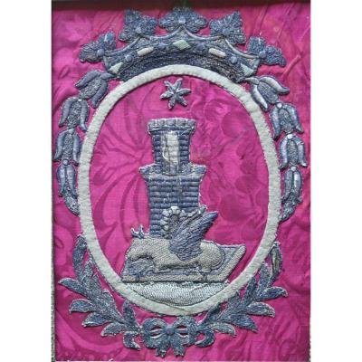 Embroidery-fabric-thread D Silver-16 Eme-heraldism-coat Of Arms-