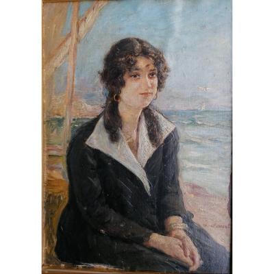 Portrait-jeune Femme-bord De Plage-joseph Faust-1868 1934-ecole Provencale-