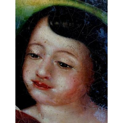 Oil On Canvas-young Girl With Candle- Period Debut XIX Eme Siecle