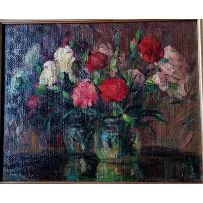 Russian School-oil-still Life With Flowers-post Impressionist-1943-