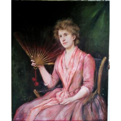 Helene Lavergne Mostiker-pastel-portrait D Une Jeune Femme A L Eventail-1886-