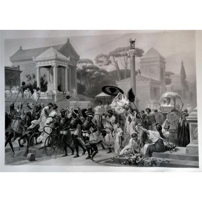 Monumental Engraving-la Via Appia-antique Rome-g. Boulanger-gautier Engraver-