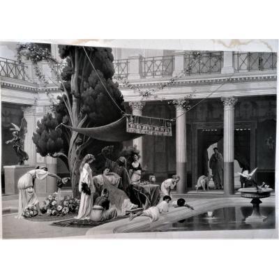 Monumental Engraving-the Gynecee-antique Rome-g. Boulanger-gautier Engraver-